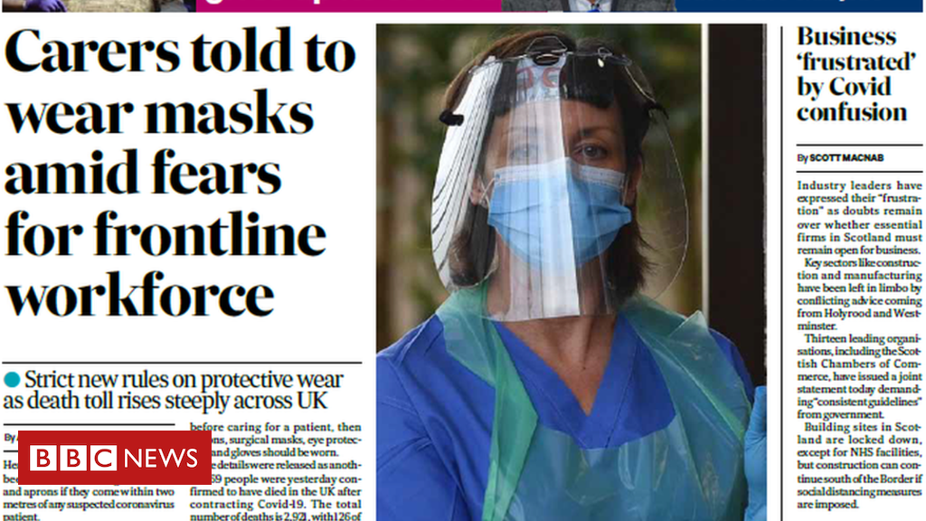 The papers: New surgical mask rules and pipers』 NHS tribute