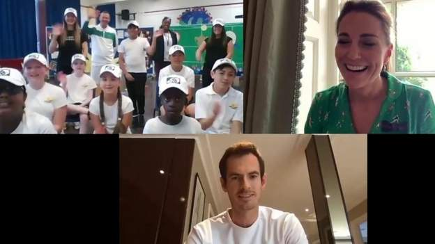 Watch: Duchess of Cambridge & Andy Murray surprise school children