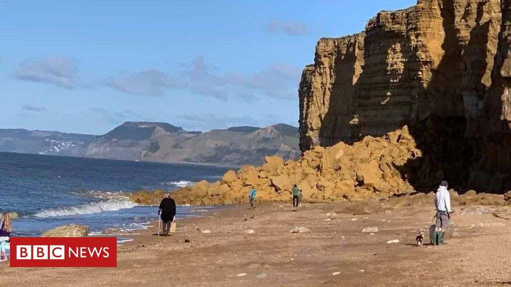 Jurassic Coast cliff fall: Warnings after cliff collapse at Hive Beach