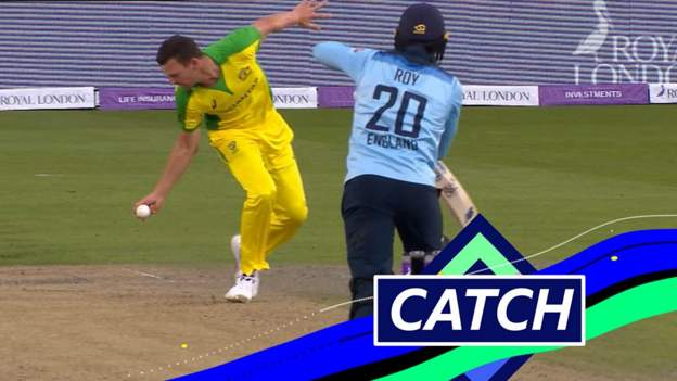England v Australia: Josh Hazlewood takes brilliant reaction catch to remove Jason Roy